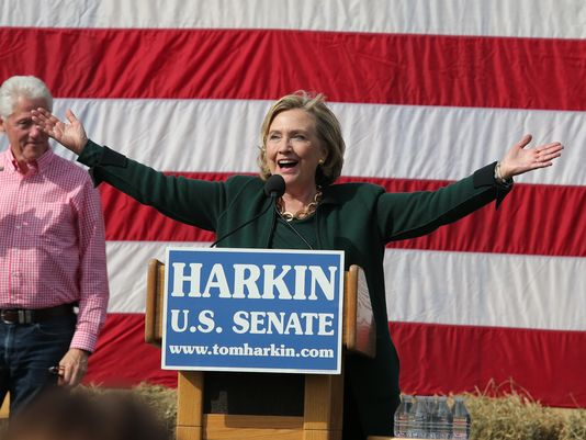 "Sen. Hillary Clinton says ""I'm back,"" to a large crowd of screaming supporters during the annual Harkin Steak Fry on Sunday, Sept. 14, 2014, in Indianola, Iowa.(Photo: Bryon Houlgrave/The Register)"