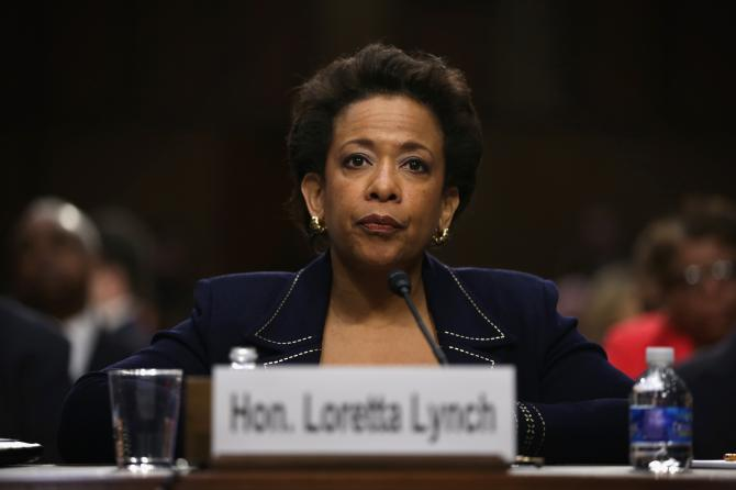 Loretta Lynch testifies during a confirmation hearing before the Senate Judiciary Committee regarding her nomination as U.S. attorney general Jan. 28, 2015, on Capitol Hill in Washington, D.C. Alex Wong/Getty Images